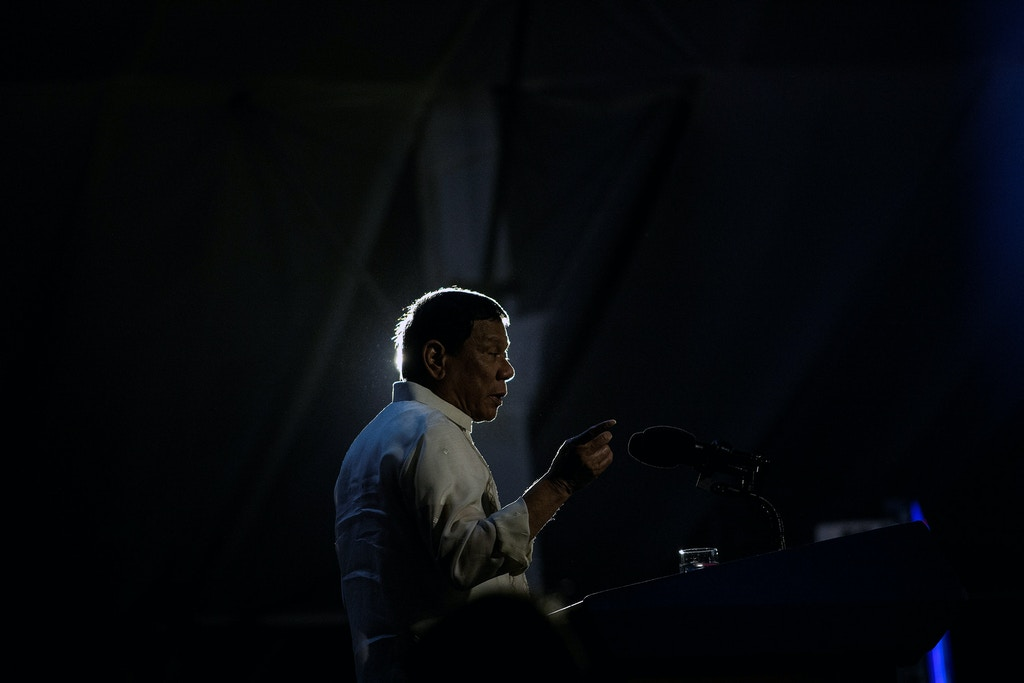 "Philippine President Rodrigo Duterte delivers a speech during the ""Digong's Day for Women"" event on March 31, 2017.  Philippine President Rodrigo Duterte on March 30 described two major media outlets as ""sons of whores"" and warned them of karmic repercussions for their critical coverage of his deadly drug war. / AFP PHOTO / NOEL CELIS        (Photo credit should read NOEL CELIS/AFP/Getty Images)"