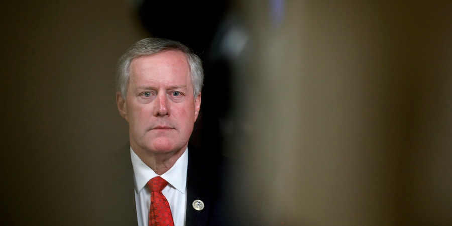 WASHINGTON, DC - JANUARY 18: Rep. Mark Meadows (R-NC), chair of the House Freedom Caucus, participates in a tv interview at the U.S. Capitol January 18, 2018  in Washington, DC. Congress is working to avoid a government shutdown ahead of a midnight Friday deadline. (Photo by Aaron P. Bernstein/Getty Images)