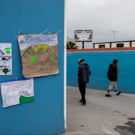 Teenage boys make their way at the yard of a migrant shelter for unaccompanied minors in Tijuana, Mexico, December 5, 2018. REUTERS/Alkis Konstantinidis - RC175D31FF60