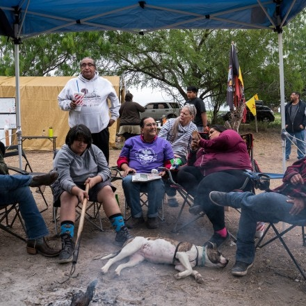 Carrizo Comecrudo Tribe members and activists gather on a Sunday afternoon in Pharr, Texas on March 17, 2019.Photo: Verónica G. Cárdenas for The Intercept