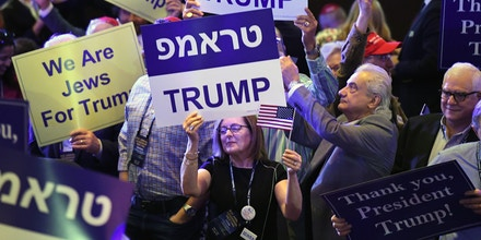 LAS VEGAS, NEVADA - APRIL 06:  Attendees hold up signs while waiting to see U.S. President Donald Trump speak during the Republican Jewish Coalition's annual leadership meeting at The Venetian Las Vegas on April 6, 2019 in Las Vegas, Nevada. Trump has cited his moving of the U.S. embassy in Israel to Jerusalem and his decision to pull the U.S. out of the Iran nuclear deal as reasons for Jewish voters to leave the Democratic party and support him and the GOP instead.  (Photo by Ethan Miller/Getty Images)
