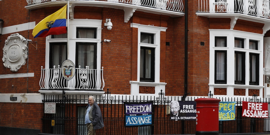 A general view of the Ecuadorian Embassy where Wikileaks founder Julian Assange has been holed out since 2012, in London, Friday, April 5, 2019. A senior Ecuadorian official said no decision has been made to expel Julian Assange from the country's London embassy despite tweets from Wikileaks that sources had told it he could be kicked out within