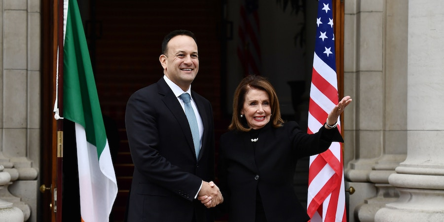 DUBLIN, IRELAND - APRIL 16: An Taoiseach Leo Varadkar meets with Speaker of the United States House of Representatives Nancy Pelosi on April 16, 2019 in Dublin, Ireland. The leading Democrat politician is on a week long visit to Ireland and Northern Ireland and will hold discussions with senior government officials and local leaders focusing, in part, on Brexit. (Photo by Charles McQuillan/Getty Images)