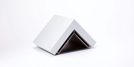 Helm, a triangle-shaped personal server that can host email, contacts, calendar, and a file server.