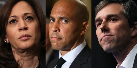 From left, Kamala Harris, Cory Booker, and Beto O'Rourke.