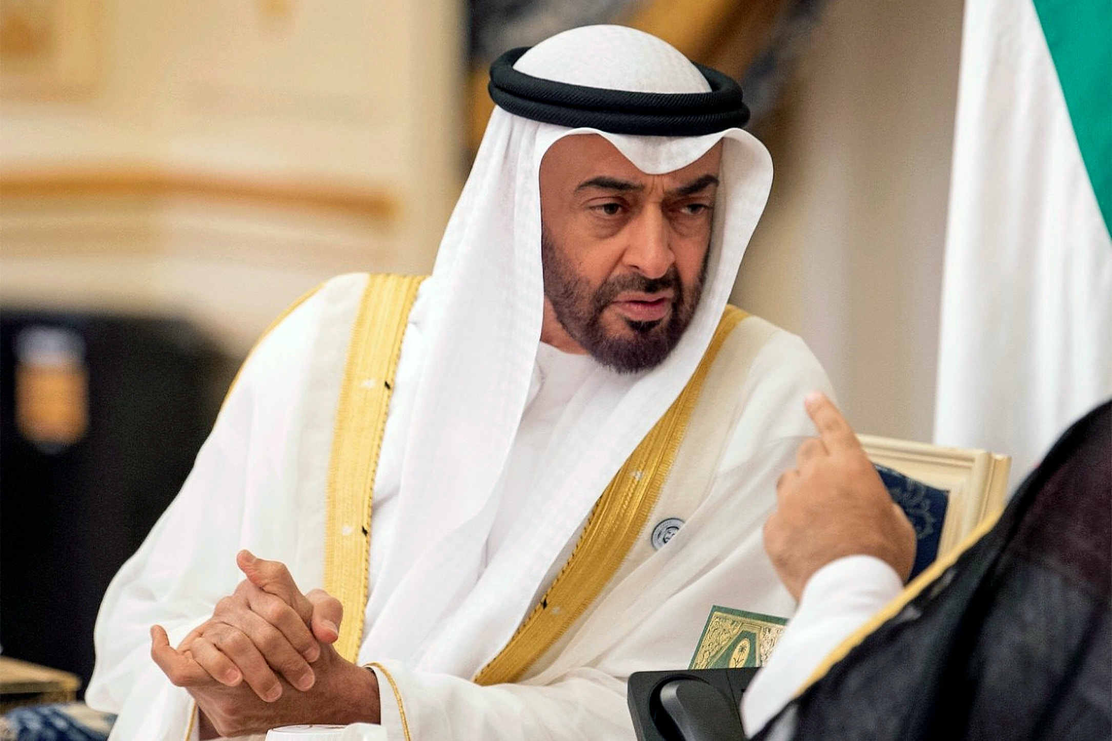 Saudi Crown Prince Mohammed bin Salman bin Abdulaziz Al Saud (known as MBS, not pictured in this photo) receives Abu Dhabi's Crown Prince Sheikh Mohammed bin Zayed Al Nahyan (known as MBZ) in Jeddah on June 6, 2018. Photo by Balkis Press/Abaca/Sipa USA(Sipa via AP Images)