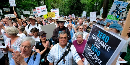 """Thousands rally against President Donald Trump's immigration policy during the """"Families Belong Together"""" nationwide day of action in Portland, Ore., on June 30, 2018."""
