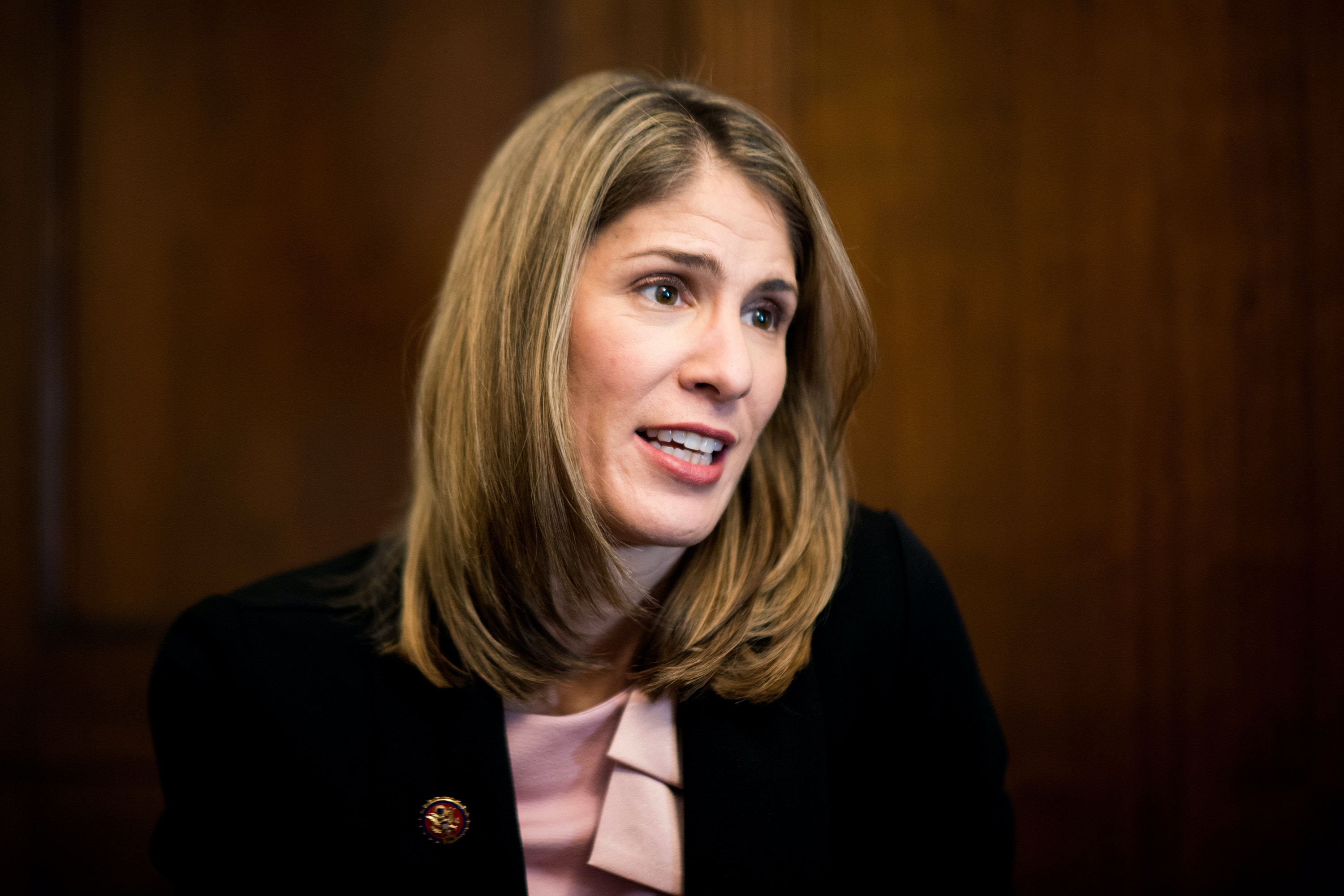 UNITED STATES - FEBRUARY 14: Rep. Lori Trahan, D-Mass., speaks with Roll Call in her office on Feb. 14, 2019. (Photo By Bill Clark/CQ Roll Call via AP Images)