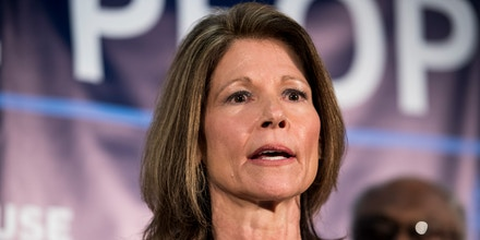 UNITED STATES - APRIL 10: DCCC Chair Cheri Bustos, D- Ill., speaks at the House Democrats' 2019 Issues Conference opening press conference at the Landsdowne Resort and Spa in Leesburg, Va., on Wednesday, April 10, 2019. (Photo By Bill Clark/CQ Roll Call via AP Images)