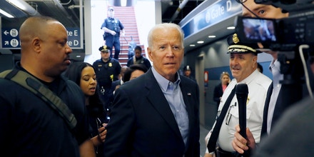 FILE - - In this April 25, 2019, file photo, former Vice President and Democratic presidential candidate Joe Biden arrives at the Wilmington train station in Wilmington, Delaware. Six Democratic presidential candidates trying to overcome Biden's blue-collar appeal and outsized presence in the race will pitch themselves as champions of workers and kitchen-table issues while speaking to one of America's largest unions in Las Vegas on Saturday. (AP Photo/Matt Slocum, File)