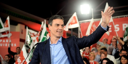 Spanish Prime Minister Pedro Sanchez waves prior to delivering a speech to officially launch the Spanish Socialist Party (PSOE)'s electoral campaign in Dos Hermanas, 15 km south of Seville on April 11, 2019 ahead of the April 28 general elections. - Spain's ruling Socialists would win the most seats in this month's election without obtaining a majority -- but could govern without the support of Catalan separatists, according to a poll. (Photo by CRISTINA QUICLER / AFP)        (Photo credit should read CRISTINA QUICLER/AFP/Getty Images)