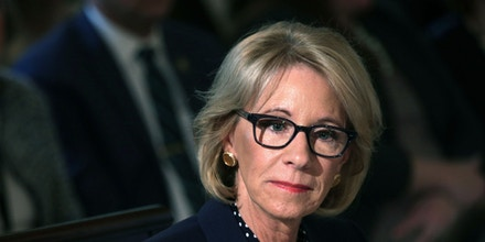 WASHINGTON, DC - MARCH 18:  U.S. Secretary of Education Betsy DeVos listens during an Interagency Working Group on Youth Programs meeting at the State Dining Room of the White House March 18, 2019 in Washington, DC. First lady Melania Trump convened a meeting of the group to discuss youth programs that align with her Be Best initiative.  (Photo by Alex Wong/Getty Images)