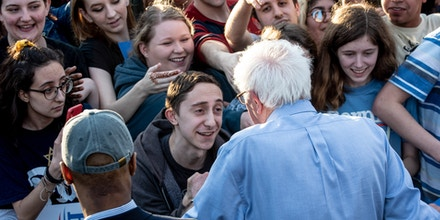 SCHENLEY PLAZA, PITTSBURGH, PA, UNITED STATES - 2019/04/14: Bernie Sanders shaking hands during his rally campaign ahead of United States Presidential election.Democratic Presidential candidate Bernie Sanders rally in Pittsburgh, PA on the campaign trail for the bid in the 2020 election. (Photo by Aaron Jackendoff/SOPA Images/LightRocket via Getty Images)
