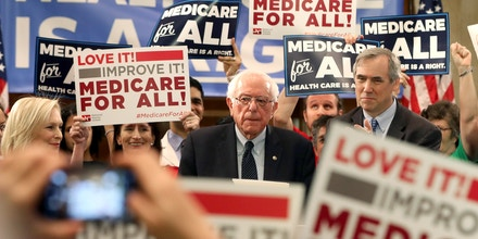 WASHINGTON, DC - APRIL 10:  Sen. Bernie Sanders (I-VT) speaks while introducing health care legislation titled the