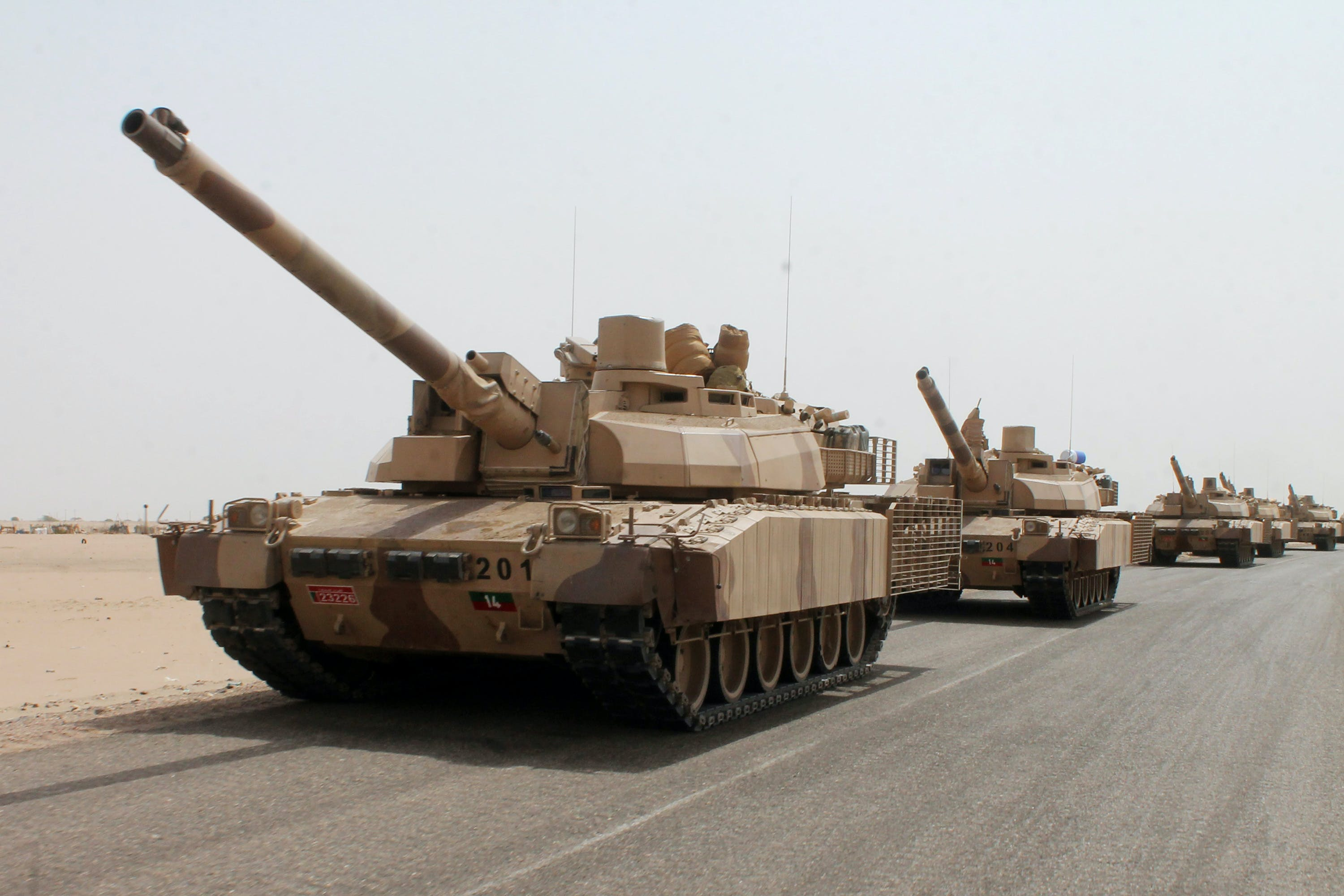 French-made Leclerc tanks of the Saudi-led coalition are deployed on the outskirts of the southern Yemeni port city of Aden on August 3, 2015, during a military operation against Shiite Huthi rebels and their allies. Pro-government forces backed by a Saudi-led coalition retook Yemen's biggest airbase from Iran-backed rebels in a significant new gain after their recapture of second city Aden last month. AFP PHOTO / SALEH AL-OBEIDI        (Photo credit should read SALEH AL-OBEIDI/AFP/Getty Images)