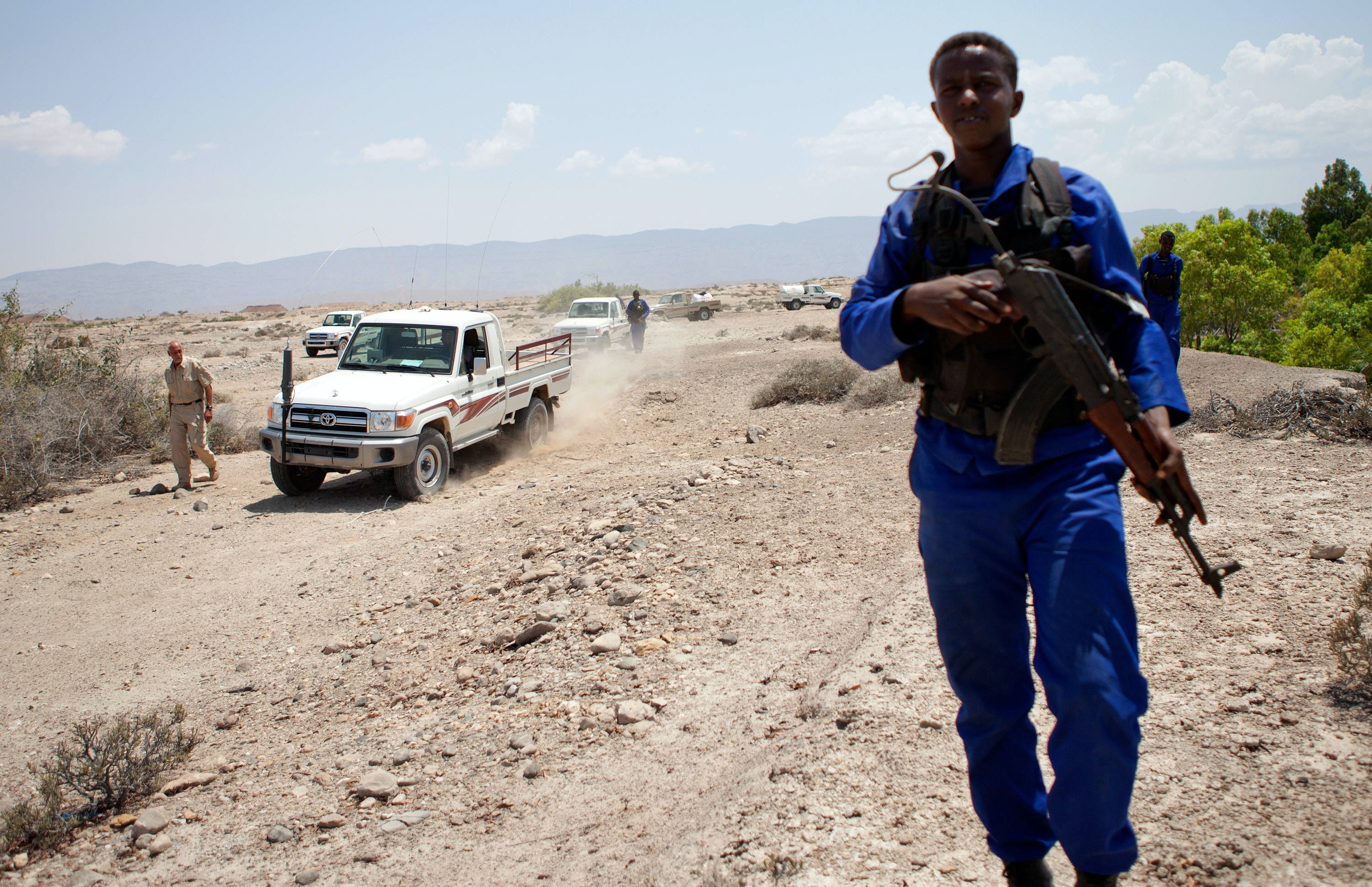 Members of the Puntland Maritime Police Force on patrol for pirates near the village of Elayo, Somalia. The Puntland Maritime Police Force is a locally recruited, professional maritime security force. It is primarily aimed at preventing, detecting and eradicating piracy, illegal fishing, and other illicit activity off of the coast of Somalia, in addition to generally safeguarding the nation's marine resources.In addition, the Force provides logistics support to humanitarian efforts. (Photo by jason florio/Corbis via Getty Images)