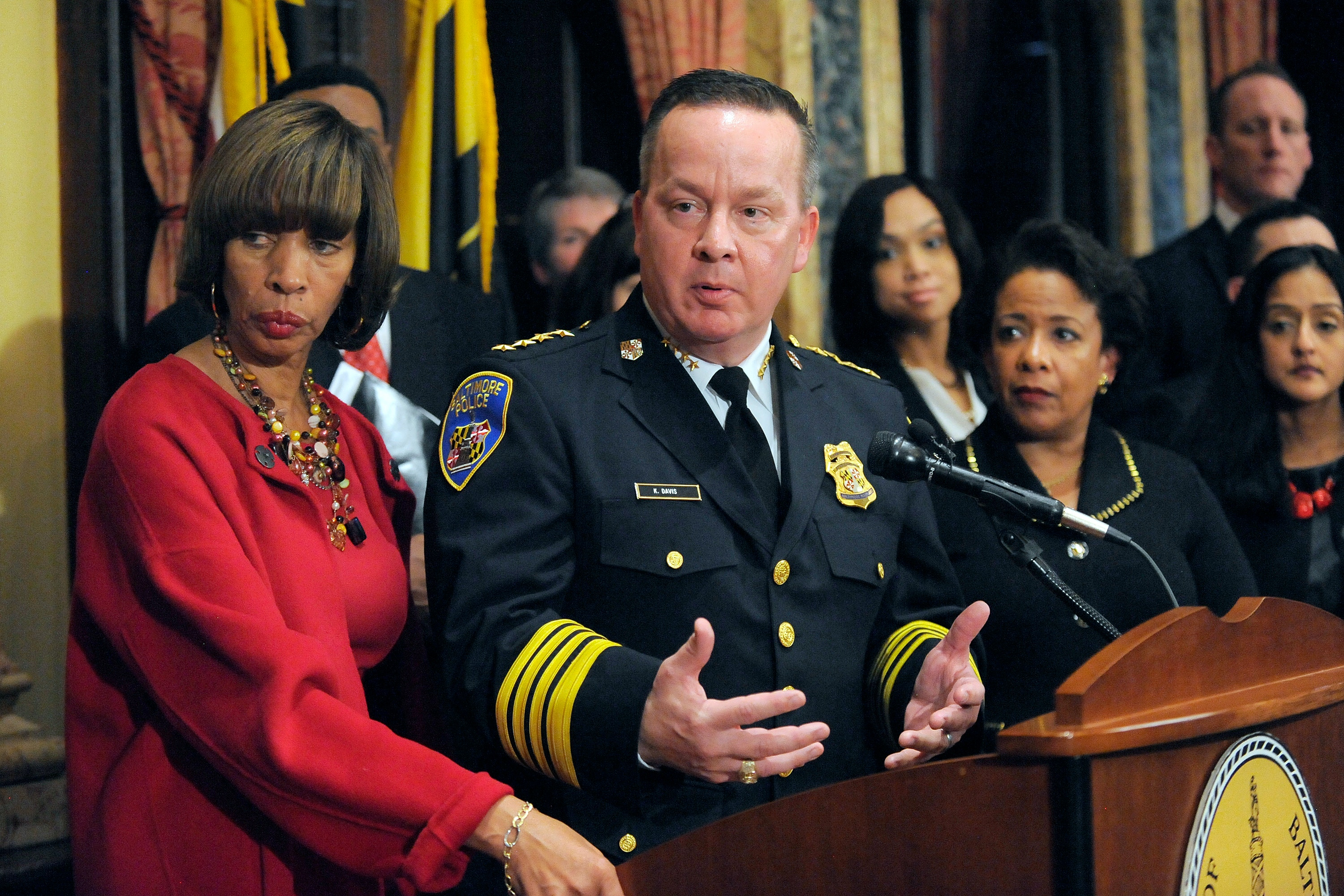 Baltimore City Police Commissioner Kevin Davis, along with Mayor Catherine E. Pugh and U.S. Attorney General Loretta E. Lynch, on Thursday, Jan. 12, 2017 at City Hall to announce an agreement on the Department of Justice Consent Decree concerning practices by the Baltimore Police Department. (Lloyd Fox/Baltimore Sun/TNS via Getty Images)