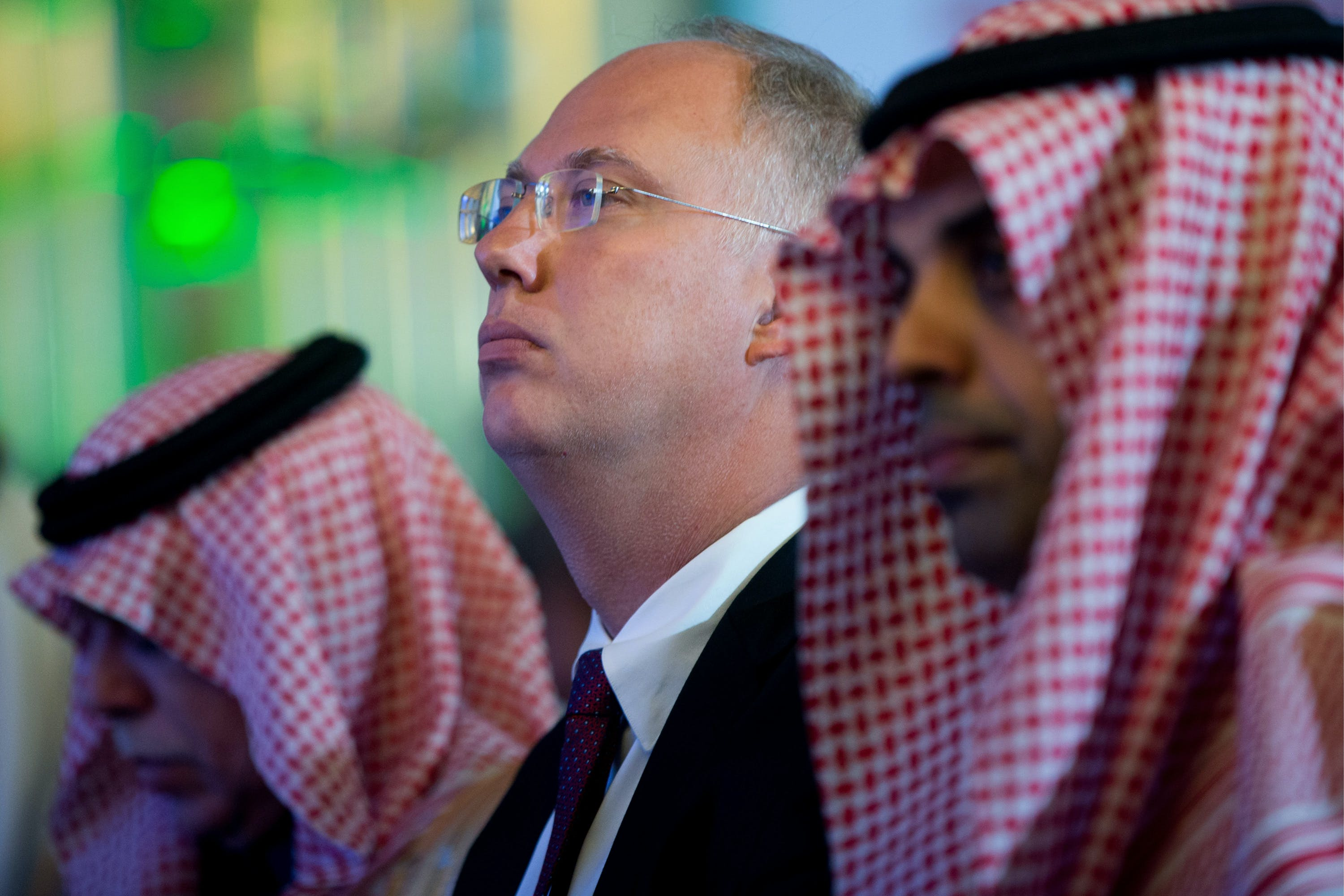 MOSCOW, RUSSIA - OCTOBER 5, 2017: Russian Direct Investment Fund CEO Kirill Dmitriev (C) attends the Russian-Saudi Investment Forum at the Ritz-Carlton Moscow Hotel. Sergei Bobylev/TASS (Photo by Sergei BobylevTASS via Getty Images)