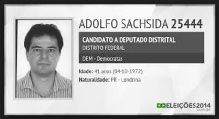 Santinho de campanha para deputado federal de Adolfo Sachsida.