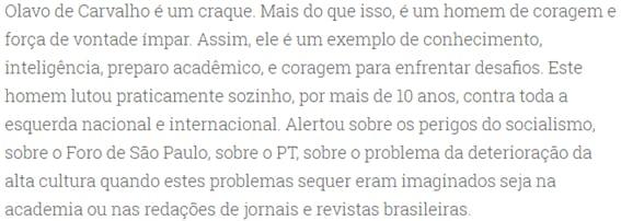 Trecho do depoimento de Adolfo Sachsida sobre Olavo de Carvalho.