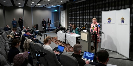 Deputy Director of Public Prosecution, Eva-Marie Persson speaks during a press conference on May 13, 2019 in Stockholm to announce the prosecutors's decision on Julian Assange rape investigation. - Swedish prosecutors said they were reopening a 2010 rape investigation against WikiLeaks founder Julian Assange. Assange, the Australian whistleblower who holed himself up in the Ecuadoran embassy in London for seven years to avoid a British extradition order to Sweden, was arrested on April 11, 2019 after Ecuador gave him up. (Photo by Jonathan NACKSTRAND / AFP)        (Photo credit should read JONATHAN NACKSTRAND/AFP/Getty Images)