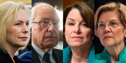 Democratic presidential candidates Sens. Kirsten Gillibrand, Bernie Sanders, Amy Klobuchar, and Elizabeth Warren.