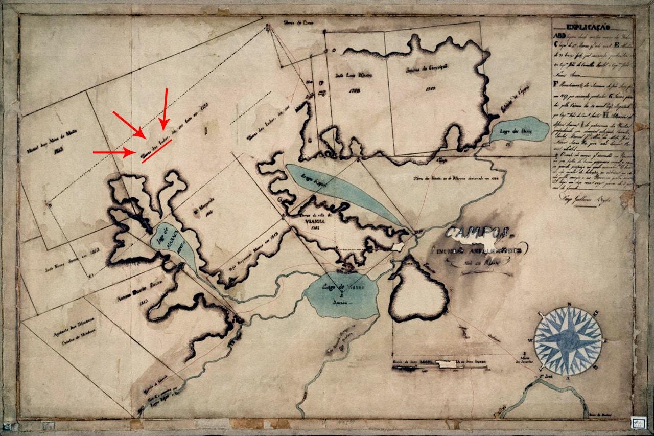 """Mapa do século 18 identifica """"Terra dos Índios"""" ainda em 1765 na região de Viana, Maranhão (no alto, à esquerda)."""