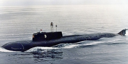 The Kursk, one of Russia's largest and most advanced submarines, which exploded and sank during naval maneuvers in August 2000, heaves ahead in the Barents Sea near Severomorsk in 1999.