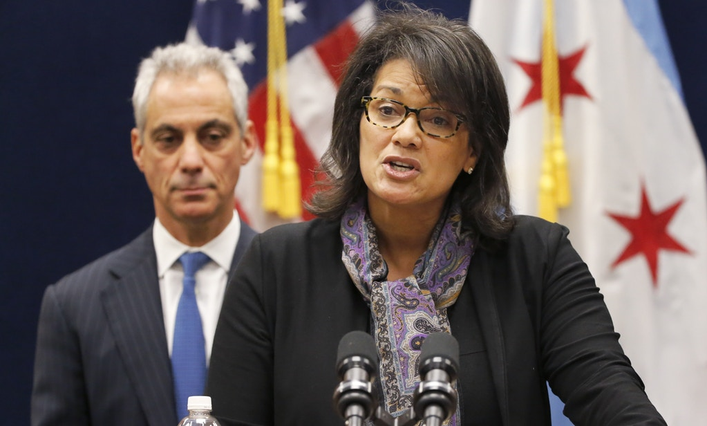 FILE - In this Dec. 7, 2015 file photo, Sharon Fairley, leader of the Chicago Independent Police Review Authority, speaks during a news conference with Mayor Rahm Emanuel in Chicago. Emanuel is releasing a proposed ordinance that would create a new agency to investigate police misconduct to replace IPRA that has come under intense criticism.The ordinance that calls for the replacement of IPRA with what is called the Civilian Office on Police Accountability. (AP Photo/Charles Rex Arbogast File)