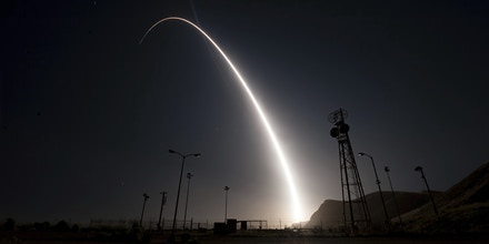 In this image taken with a slow shutter speed and provided by the U.S. Air Force, an unarmed Minuteman 3 intercontinental ballistic missile launches during an operational test early Wednesday, April 26, 201,  from Vandenberg Air Force Base, Calif. The target of the test was in the Pacific Ocean. An Air Force statement said the mission was part of a program to test the effectiveness, readiness, and accuracy of the weapon system. (Senior Airman Ian Dudley/U.S. Air Force via AP)