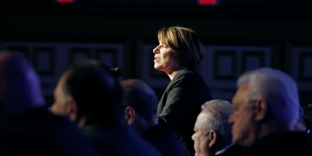 Democratic presidential candidate Sen. Amy Klobuchar speaks at a convention in Las Vegas on April 8, 2019.
