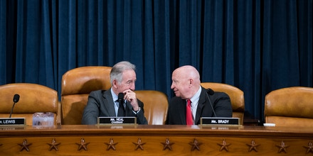 UNITED STATES - MAY 16: Chairman Richard Neal, D-Mass., and ranking member Rep. Kevin Brady, R-Texas, are seen during a House Ways and Means Committee hearing in Longworth Building titled