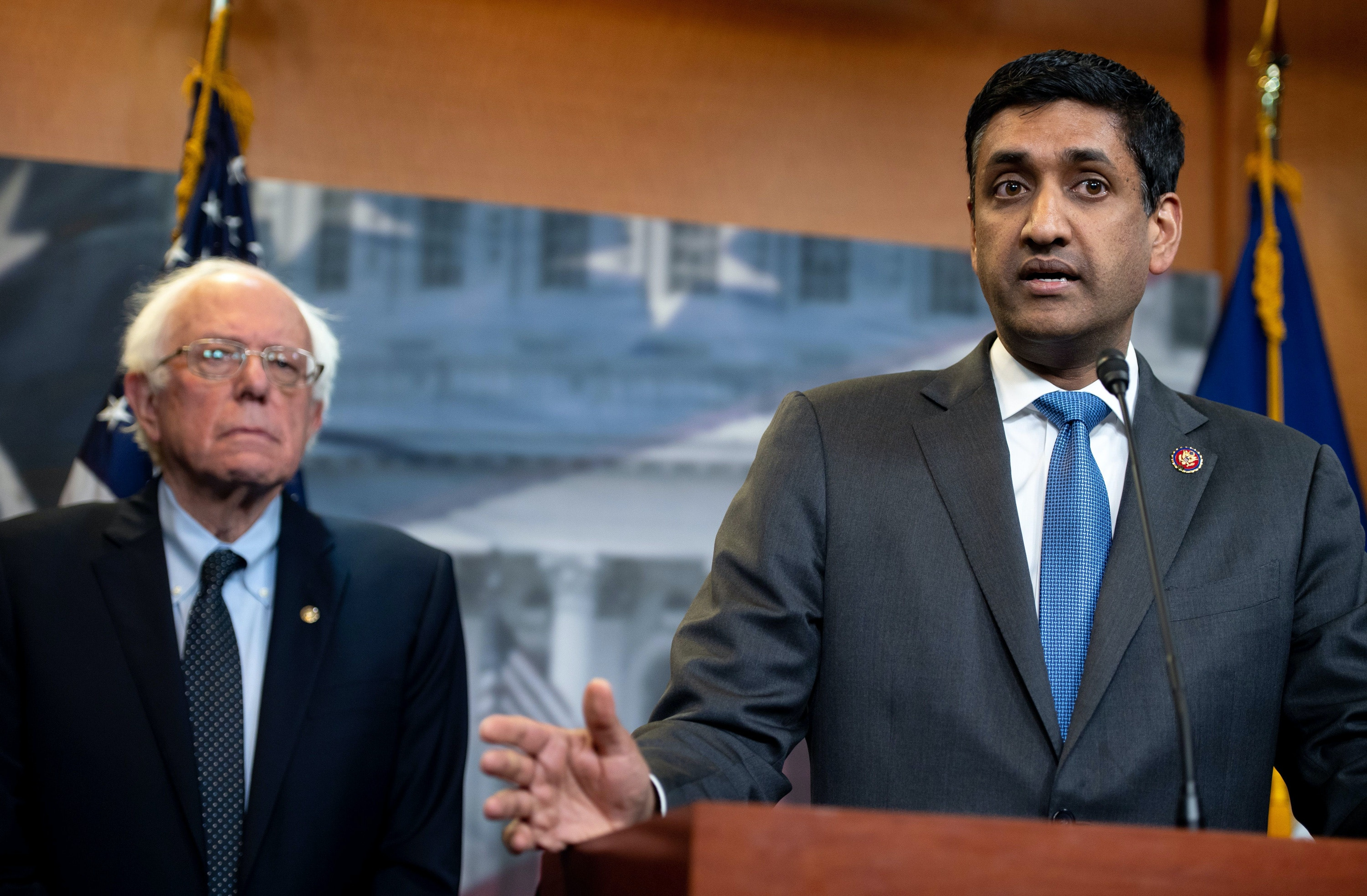 US Representative Ro Khanna (R), Democrat of California, and US Senator Bernie Sanders, Independent of Vermont, speak during a press conference following a vote in the US House on ending US military involvement in the war in Yemen, on Capitol Hill in Washington, DC, April 4, 2019. (Photo by SAUL LOEB / AFP)        (Photo credit should read SAUL LOEB/AFP/Getty Images)
