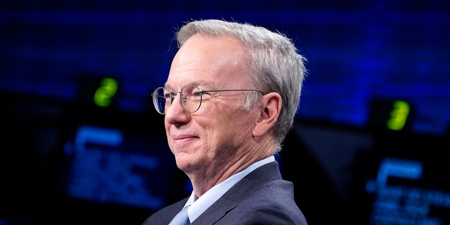 NEW YORK, NEW YORK - APRIL 16: Eric Schmidt , former chairman and CEO at GOOGLE visits Fox Business Network Studios on April 16, 2019 in New York City. (Photo by John Lamparski/Getty Images)