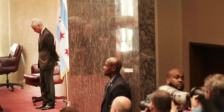 Mayor Rahm Emanuel presides over a city council meeting in Chicago, lll., on Jan. 25, 2017.