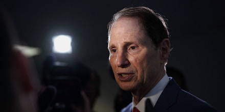 Sen. Ron Wyden speaks to members of the media in Washington, D.C., on May 16, 2018.