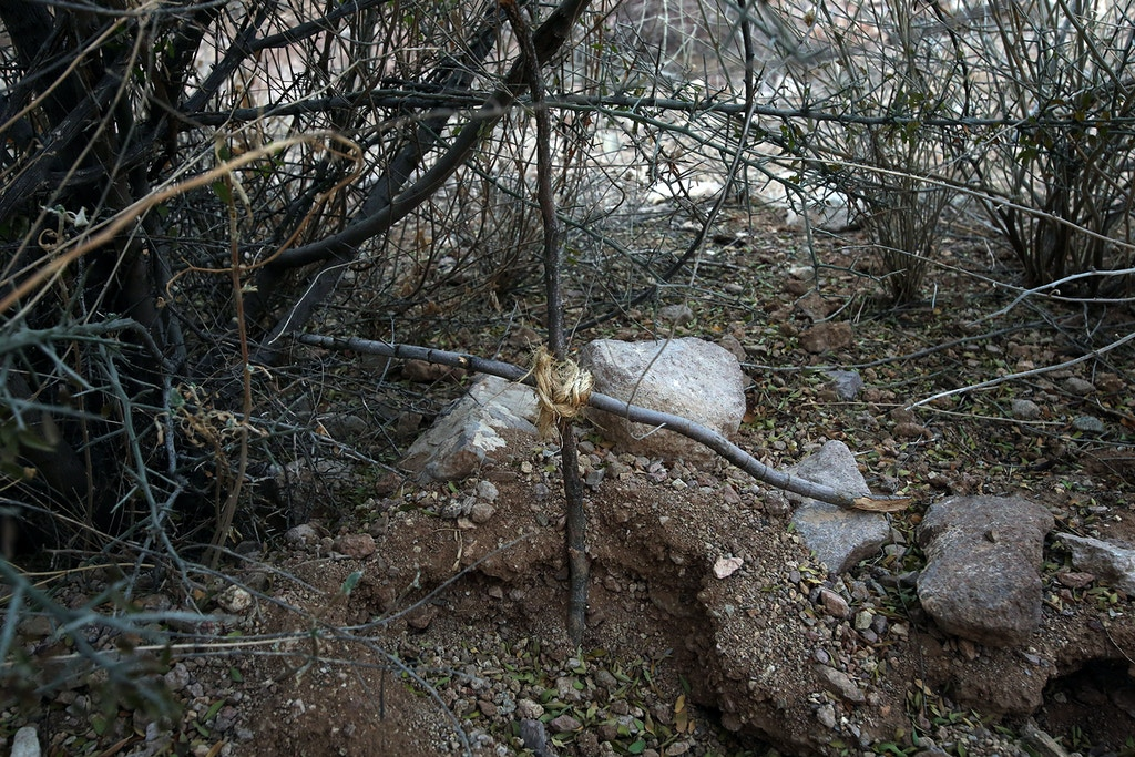 Makeshift grave that it's believed migrants put together/ Discovered during a water drop in December 2016 in the Sauceda Mountains, north of Ajo. with NMD, during their December camp.