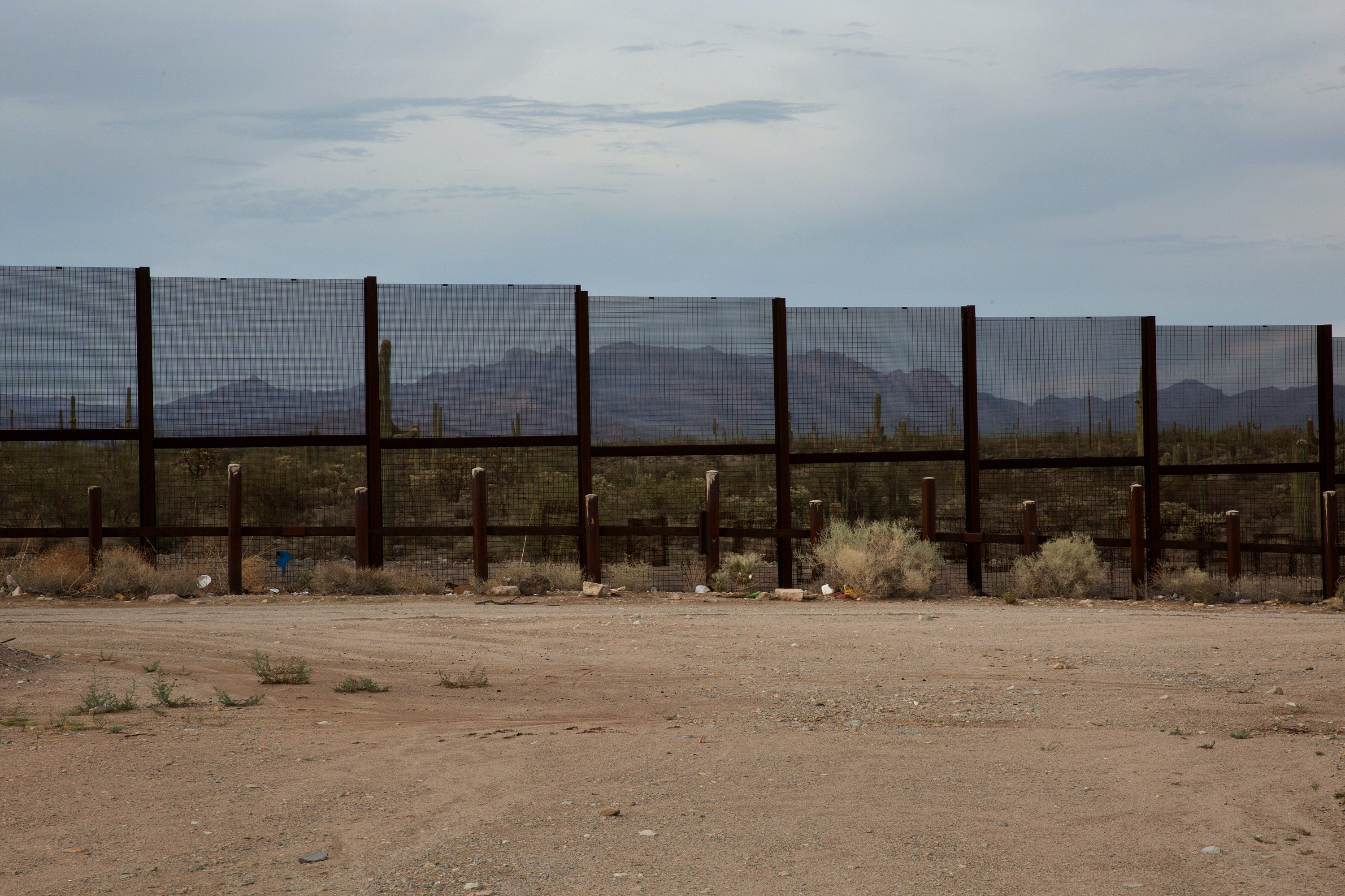 Border fence facing north towards Lukeville, Arizona.