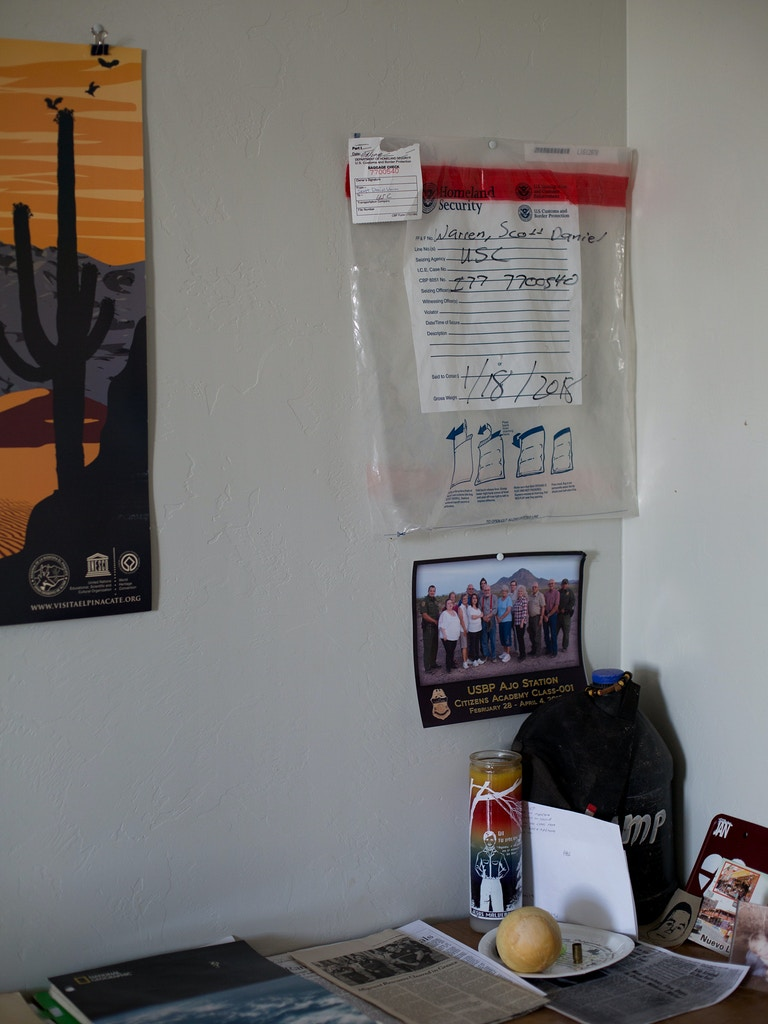 Evidence bag hung in Scott Warren's office in his home in Ajo, Arizona.
