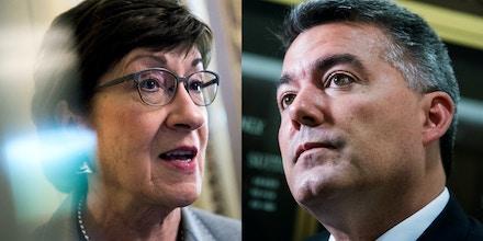 Sen. Susan Collins, left, in April 2019, and Sen. Cory Gardner in August 2018.
