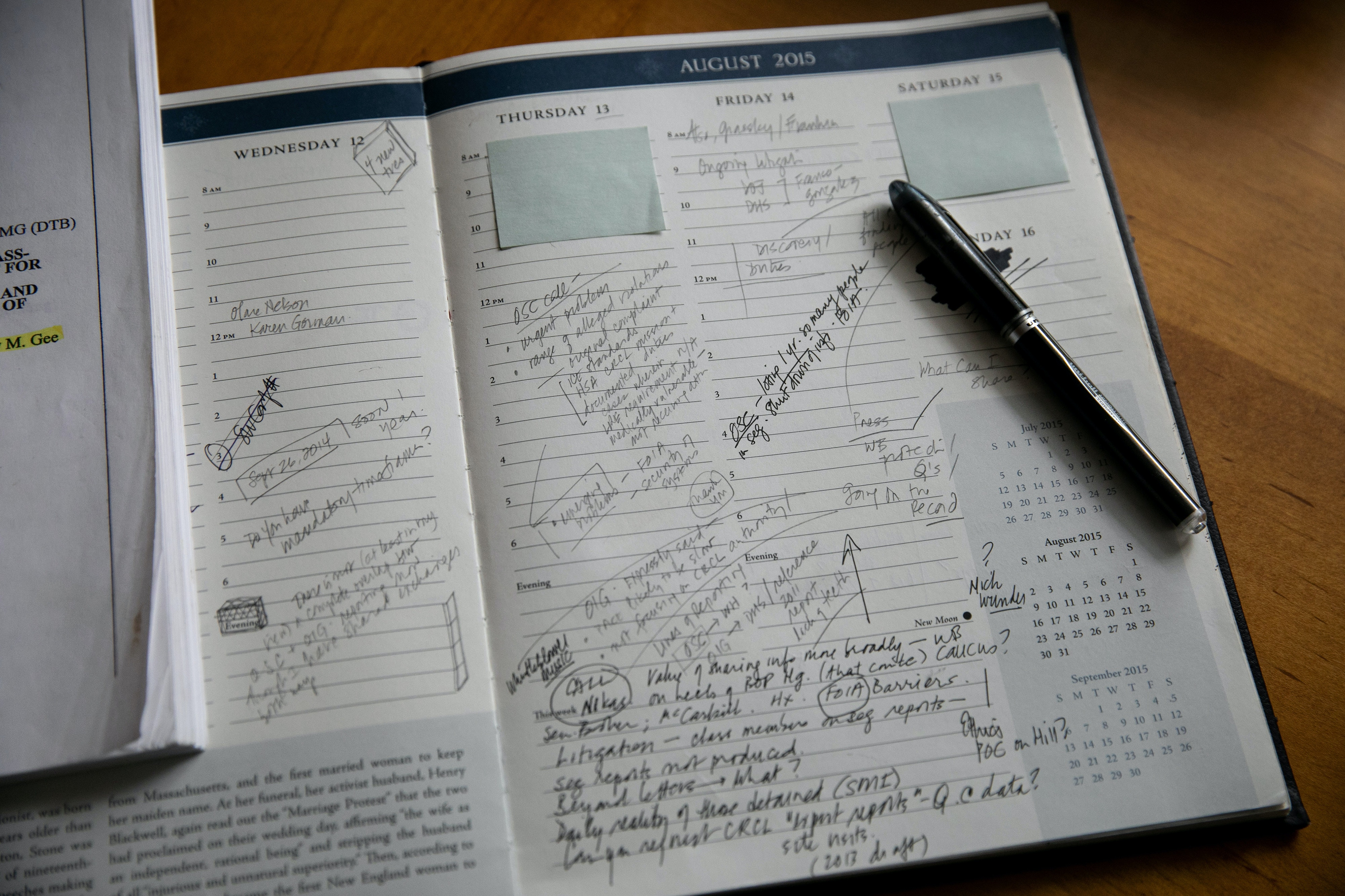 Mansfield, MA -- 05/09/2019 -- Ellen Gallagher's journal from August, 2015 is seen in her home office on May 9, 2019, in Mansfield, Massachusetts. This page has notes reflecting her communication with OSC, notes about her outreach to members of Congress, notes about the Franco Gonzalez litigation, and a range of issues related to whistleblowing. This page is a direct reflection of one the the key documents in the case, which is the first request for reconsideration to OSC. (Kayana Szymczak for The Intercept)