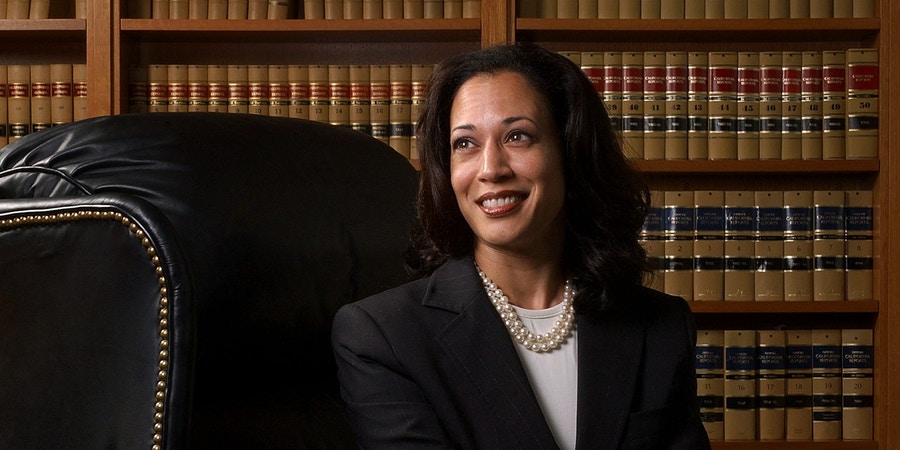 San Francisco District Attorney Kamala Harris poses for a portrait in San Francisco, Friday, June 18, 2004. The December election of a new district attorney was supposed to signal a turning point for police-prosecutor relations in San Francisco, where lofty, ultra-liberal ideals sometimes clash with the street-level realities of law enforcement. But after ousting her former boss on a pledge to restore order to the DA's office, Kamala Harris has faced unforeseen trials with her colleagues in blue. (AP Photo/Marcio Jose Sanchez)