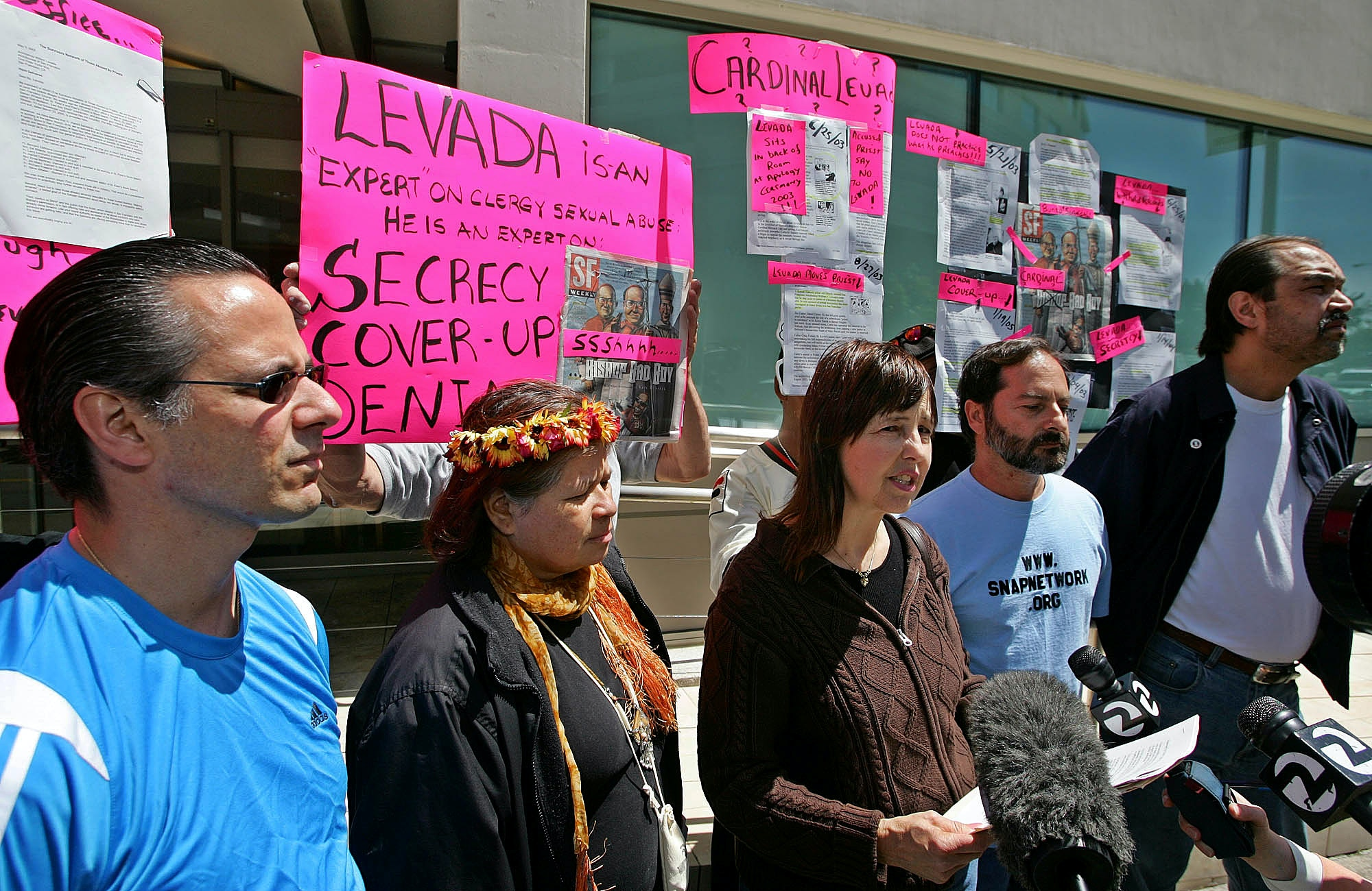 From left, Dominic Delucca, Sonia Todd, Terrie Light, Joe Piscitelli, and Wayne Presely, all claiming to be victims of clergy abuse, hold a demonstration against the naming of Archbishop William J. Levada as Prefect for the Congregation of the Doctrine of the Faith for the Cathlolic Church outside the Catholic Archdiocese in San Francisco, Friday May 13, 2005.  The protesters are part of a group called SNAP, The Survivors Network of Those Abused by Priests.(AP Photo/Eric Risberg)