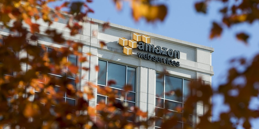 A logo sign outside of a facility occupied by Amazon Web Services (AWS) in Herndon, Virginia on November 26, 2017. Photo by Kristoffer Tripplaar/Sipa USA(Sipa via AP Images)
