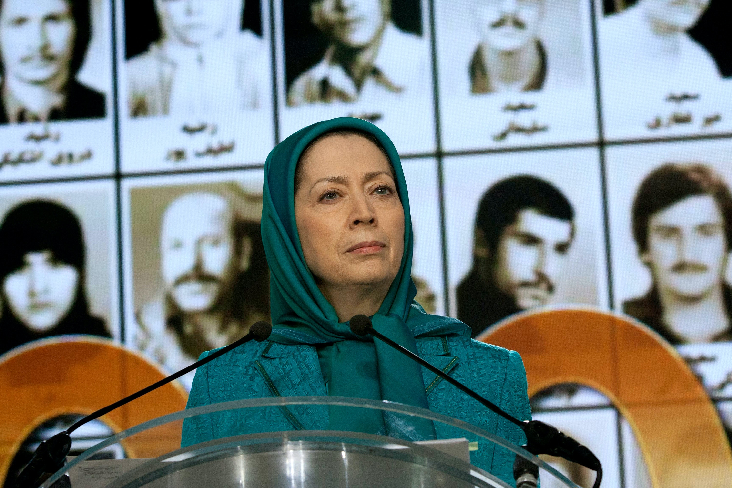 Maryam Rajavi, Auvers-sur-Oise, France 25/08/2018 - A global video conference was held by Iranian communities on Saturday, August 25, 2018, on the 30th anniversary of the 1988 massacre of 30,000 political prisoners in Iran. Maryam Rajavi, the NCRI's President-elect reiterated that the clerical regime's spies and mercenaries must be expelled from western countries and all relations must be terminated with the regime which takes advantage of diplomatic resources to promote state-sponsored terrorism, and its embassies must be shut down. Siavosh Hosseini/TME/SIPA (Sipa via AP Images)
