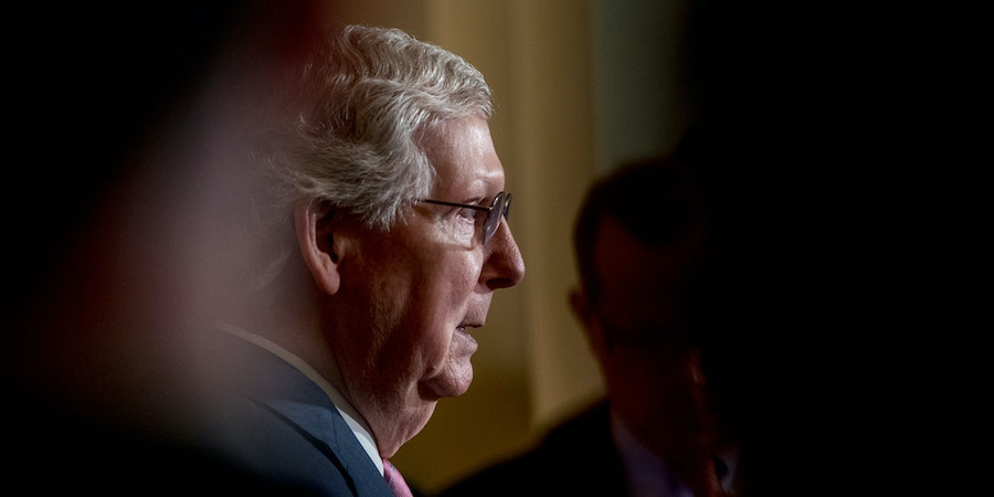Senate Majority Leader Mitch McConnell of Ky., speaks to members of the media following a Senate policy luncheon on Capitol Hill in Washington, Tuesday, June 25, 2019. (AP Photo/Andrew Harnik)