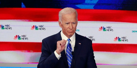 Former Vice President Joe Biden gestures during the second night of the first Democratic presidential debate on June 27, 2019 in Miami, Fla.