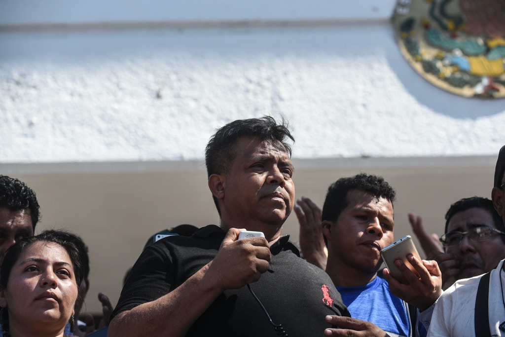 Mexican human rights activist Irineo Mujica, addresses the press, in the framework of a caravan of Honduran migrants heading to the US, in Tapachula, Chiapas state, Mexico, on October 22, 2018. - President Donald Trump on Monday called the migrant caravan heading toward the US-Mexico border a national emergency, saying he has alerted the US border patrol and military. (Photo by Johan ORDONEZ / AFP)        (Photo credit should read JOHAN ORDONEZ/AFP/Getty Images)