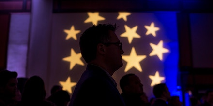 Attendees await midterm election results during a DCCC watch party in Washington, D.C., on Nov. 6, 2018.