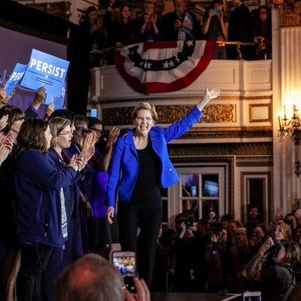 Sen. Elizabeth Warren arrives at the Massachusetts Democratic Coordinated Campaign Election Night Celebration in Boston, Mass., on Nov. 7, 2018.
